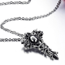 Titanium Necklaces & Pendants for Women Men with Chain Stainless Steel Dragon Sword Cross Skull Punk Gothic Black Silver Jewelry