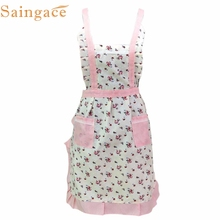 Women Lady Restaurant Home Kitchen For Pocket Cooking Cotton Apron Bib Flower Pattern jan19(China)