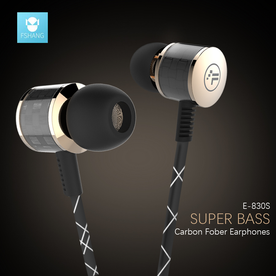 Fshang HIFI Headset Super Bass Earphones Carbon Fiber Volume Control ear