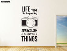 Mad World-Life is Like Photography Bright Wall Art Stickers Wall Decal Home DIY Decoration Removable Room Decor Wall Stickers