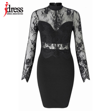 IDress Sexy Black Women Bodycon Mini Dress Cheap Clothes China Patchwork Pencil Syigw Vintage Turtleneck Long Sleeve Lace Dress