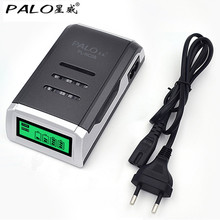Original PALO C905W 4 Slots LCD Display Smart Intelligent Battery Charger for AA / AAA NiCd NiMh Rechargeable Batteries EU Plug