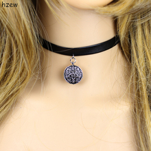 hzew Black Leathe Choker Necklace Game Witcher 3 Yennefer Medallion for Women Girls include 1 Bag(China)