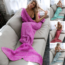 Mermaid Tail Cloak Comfortable Air Conditioning Blanket Pure Hand Knit Fish Tail Shape Winter/Autumn Nap Cover Blanket for Adult