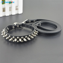 Hot Sale PU Leather Pet Dog Collars Round Spikes Studded Dog Puppy Collar and Leash Set for Pitbull Boxer Mastiff