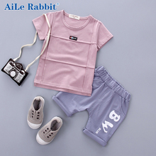 AiLe Rabbit Children Short Sleeve Suit 2017 Summer Korean Boys 1-2-3-4 year Old Female Baby T shirt Shorts Two set free shipping(China)