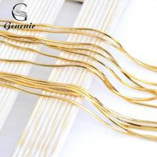 1PC 2017 Gold Color 1.2 MM Elegant Pattern Snake Chain Unisex Men/Women's Necklace (DIY PENDANT) 16INCH-30INCH(China)