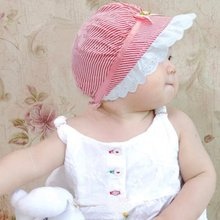 Summer Lace Baby Girls Cotton Flower Stripe Cap Kids Cute Flower Sun Visor Bucket Hat New KL75