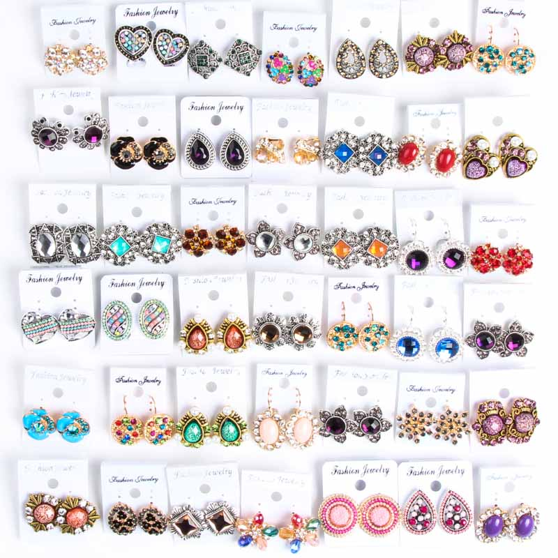 High quality wholesale and wholesale mixed style 24pcs fashion sweet beautiful girl's earrings (color: multicolor)