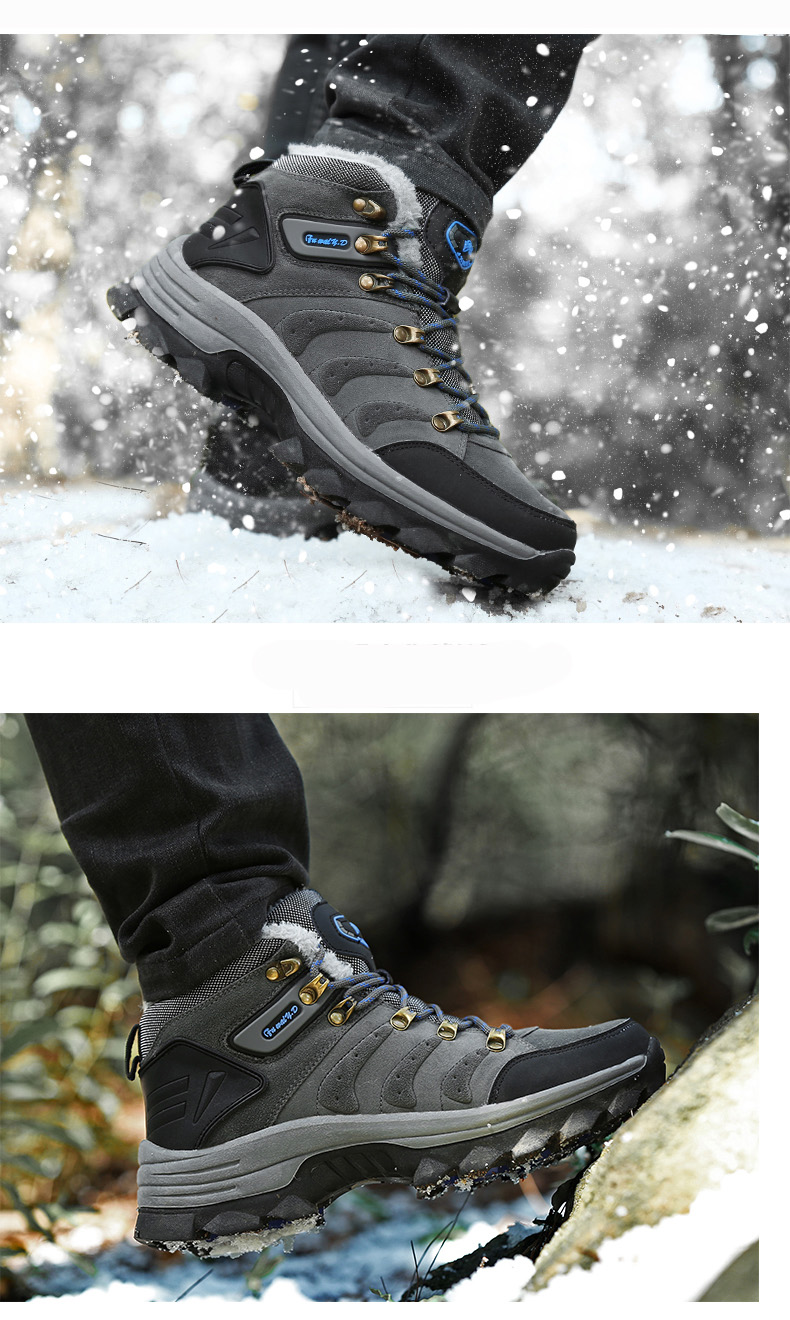 Luxury Men Boots Men Winter Snow Boots Warm Fur&plush Lace Up High Top Work Men Designer Driving Sneakers Male Winter Boots 12