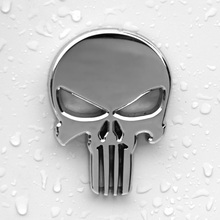 6x4.3cm Top Quality The Punisher Skull Head Solid Zinc Alloy Chrome Metal Car Styling Emblem 3D Sticker Cool Scary Exterior Mark(China)