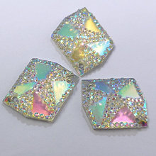 Resin Clear AB 21x26mm General Rhinestone Gems Stones and Crystals Sew-on Wedding Decoration Evening Dresses Costume Arts Charms(China)