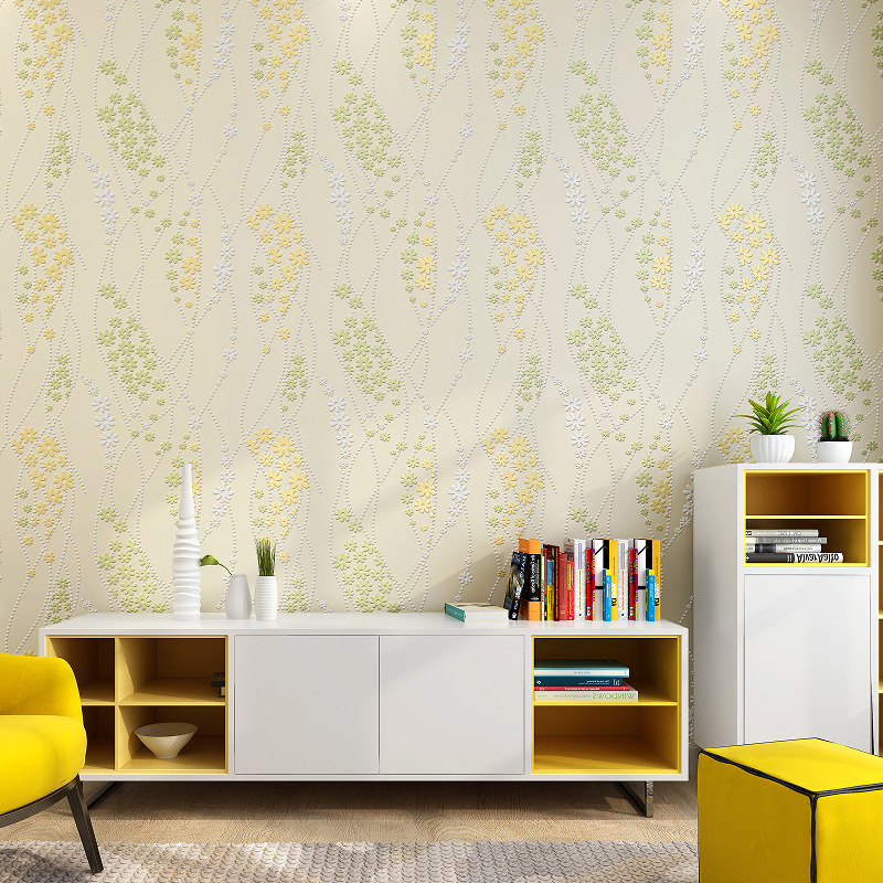 Korean Pastoral Non-woven Wall paper Small Fresh Green Bedroom Living Room Line Flower Wallpapers Marriage Room Warm Romantic<br>