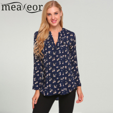 Meaneor Vintage Blouses Women Roll-Up Cuffed Sleeve Shirts Floral Print Asymmetrical Blouse Casual V Neck Long Sleeve Blusas(China)