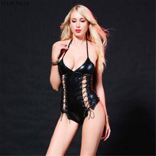Buy Trish Bella 2018 Patent leather halter Split ends Tie locomotive Steel tube dance latex catsuit bodystocking body sexy costumes