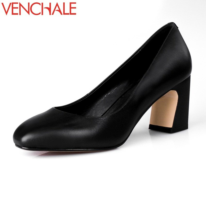 VENCHALE square toe concise absorb sweat on formal occasions office lady women newest pumps high heels genuine leather shoes<br>