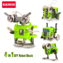 4 IN 1 DIY Electronic Building Blocks Self assembled Robot Car Cricket Beast Education transformable boy gift puzzle Toys