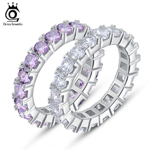 ORSA JEWELS Luxury Austrian Crystal Finger Eternity Ring with Purple or Clear AAA Cubic Zirconia Silver Color Ring Jewelry OR31(China)