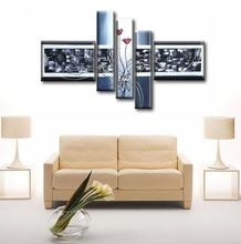 4 pieces wall art canvas abstract oil painting living room wall painting decoration stretched oil painting(China)