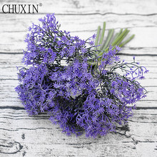 1 bouquet artificial purple star grass 9 branches the new simulation fake flower wedding decoration for home table accessories(China)