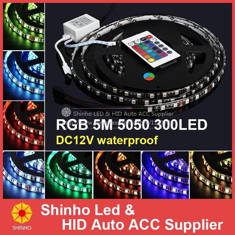 Best price ! RGB LED Strip 5050 Flexible Light 60LED/M 300LED 5M SMD IP65 waterproof + 24key IR Remote Controller<br><br>Aliexpress