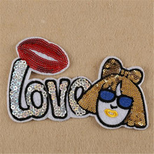 Sequins red lips LOVE girl patches for clothing, jacket, autumn dress, hoodies, polo, socks, jeans woman, faldas, vestidos, hat