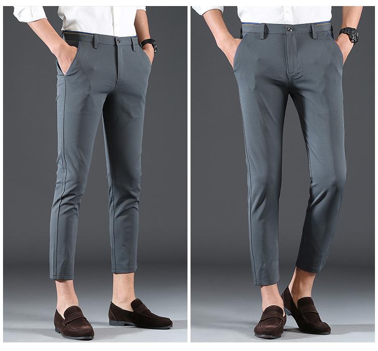 2018 Pring Summer Brand Clothing Men Casual Pants Business Slim Fit Elastic Ankle-length Pants Men's Skinny Pants Men Trousers 11