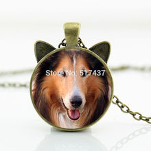 2017 New hot New Long Haired Rough Collie Necklace Dog Pendant Jewelry Glass Photo Cabochon Necklace CN-00754