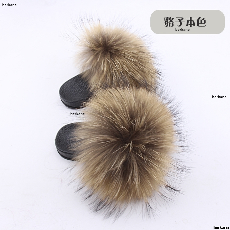 Real Fox Slippers Kids Winter Fur Child Home Slides Girl Flop Flips Raccoon Fluffy Cute Flats Beach Summer Children Boys Fashion