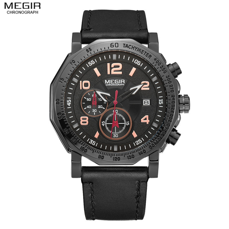 Megir Fashion Mens Chronograph Luminous Watches for Male Sport Quartz Wrist Watches Army Military Leather Strap Date Watch Clock<br>