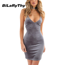 Summer Sexy Club Women Deep V Neck Spaghetti Strap Backless Bodycon Dress Cross Back Velvet Evening Party Mini Dresses Clubwear