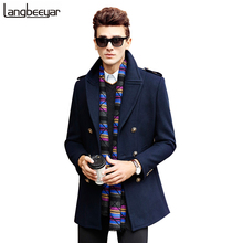 High-grade New Fashion Brand-Clothing Jacket Men Wool Coat Double-breasted Pea Coats Men Long Wool & Blends Winter Coat Men