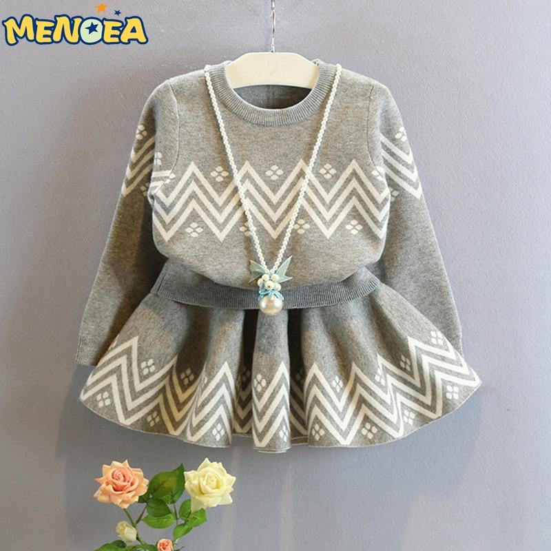 Menoea 2017 Winter Girls Dress Geometric Pattern Dress Long Sleeve Girls Clothes Top Coat+ Tutu Dress Sweater Knitwear 2pcs<br><br>Aliexpress