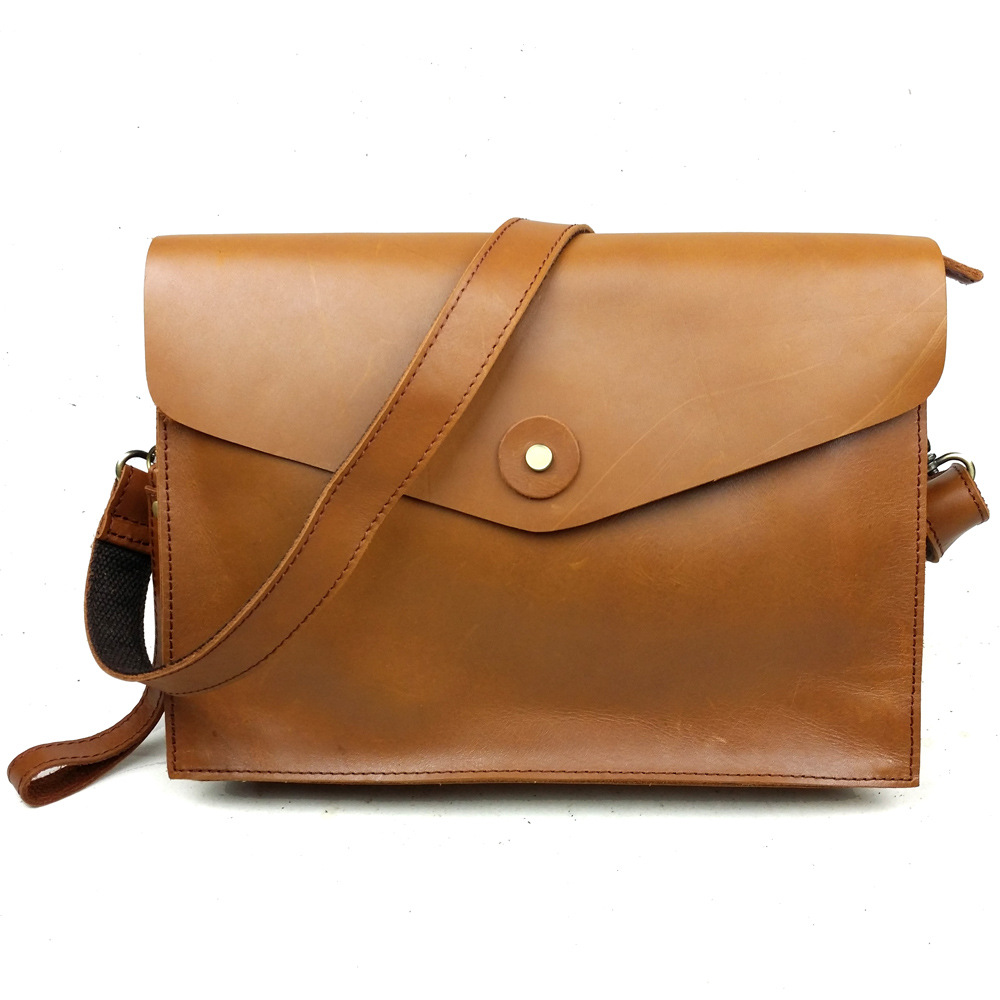 Brand New Oil Wax Genuine Leather Mens Classic Crossbody Shoulder Bags Business Zipper Messenger Bag Envelope Clutch Bag<br>