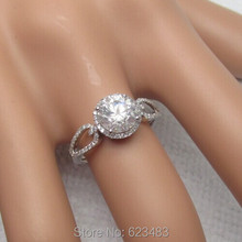 Moissanite Halo Ring  Solid 14k White Gold  Ring  R012