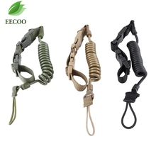 Adjustable Hunting Belt Military Secure Elastic fishing Lanyard Quick Release Spring Sling Strap Tape Hanging Buckle Carabiner