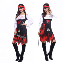 2016 Halloween costume masquerade cos Caribbean Pirates of the Caribbean female pirate bloody female adult stage costumes(China)