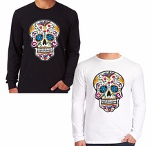 Fashion Vintage Print Long Sleeve Sugar Skull T Shirt Men Women Tattoo Dia De Los Muertos Cotton O Neck Shirts Brand Clothing
