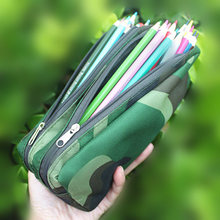 camouflage pencil case for boys,cute school pencil box for kids students,waterproof large double zipper pen bag green gray(China)