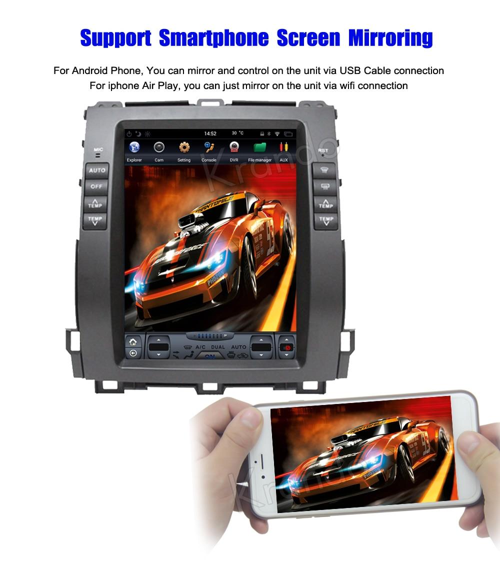 Krando Vertical screen android car radio multimedia for Toyota prado 2002-2009 Big screen navigation with gps system (5)