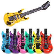 New Brand Colorful Inflatable Guitar Rock Roll 1pcs Cute Guitar Balloon Baby Kids Inflatable Guitar Toy( Color:Random)