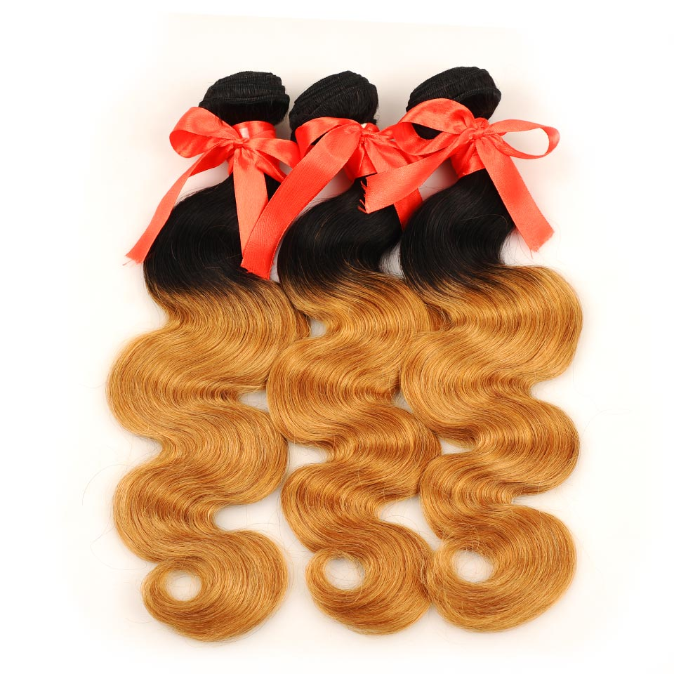 Pinshair Pre-Colored Brazilian Hair Weave Bundles With Closure Ombre T1B 27 Body Wave 3 Bundles With Closure Human Hair Non Remy (11)