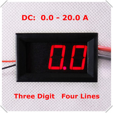 "RD 0.56"" Digital Ammeter AMP DC 0-20A Four wires 3 digit Current Panel Meter led Display Color: Red [ 4 pieces / lot](China)"
