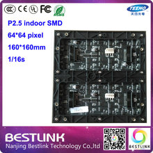 p2.5 led display module 64*64 pixel 1/16 scan indoor rgb led panel board for video wall led screen electronic advertising board