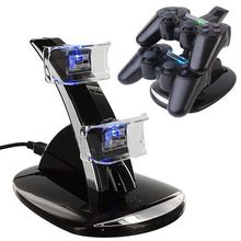 Black Crystal Blue Light Dual 2 Double USB Charger Charging Station Dock Stand Base For PlayStation 3 PS3 PS 3 Game Controller