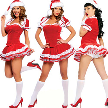 Hot Sexy Christmas Dress Dancing Show  Night Club Miss Santa Costumes Sister Lovely Girls Miniskirt For Women