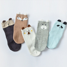 5 Paris Cartoon Animal Baby Boys Girls Socks Anti Slip Fox Socks For Baby Kids Sock with Rubber Sole Cotton Baby Stuff For 1-5Y(China)