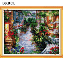 Home Decoration Needlework Counted Cross Stitch Set Embroidery Cross Kit 14CT Lakeside Houses Pattern Cross-Stitching 50 * 41cm