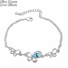 2018 brand fashion New Arrival Wholesale 18KGP Austrian Crystal Double butterfly Bracelet bangle Fashion bracelet Jewelry 4090(China)