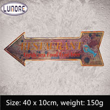 Metal Tin sign Restaurant Fresh Seafood Free Beer Arrow Mark Art Poster Coffee Cafe Wall Stickers Decor(China)